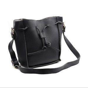 Fashion black buckets leather handbag